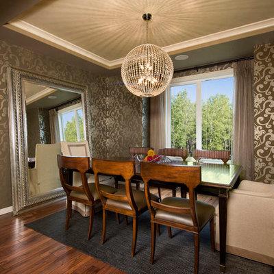 Trendy dark wood floor dining room photo in Calgary