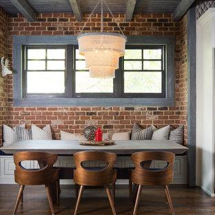 Large urban dark wood floor and brown floor great room photo in Atlanta