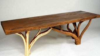 Amber wood dining table