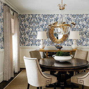 Inspiration for a traditional dining room in Charlotte with multi-coloured walls.