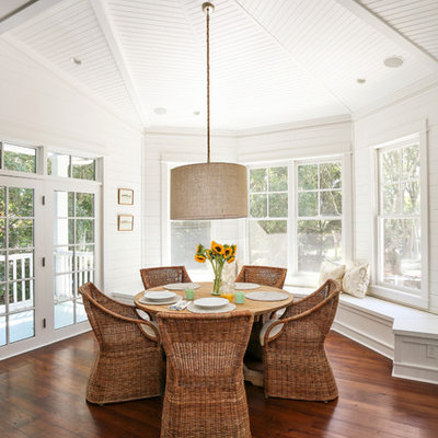 Inspiration for a coastal dark wood floor dining room remodel in San Francisco with white walls
