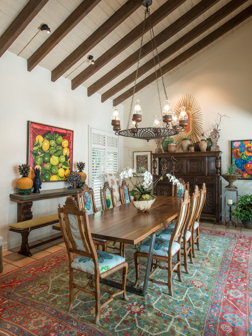 Example Of A Large Eclectic Terra Cotta Floor And Orange Kitchen Dining Room