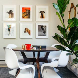 Exemple d'une salle à manger tendance de taille moyenne avec un mur blanc, moquette et un sol bleu.