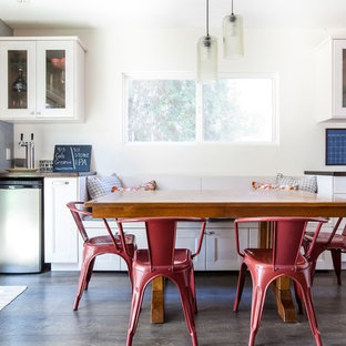Inspiration For A Large Transitional Dark Wood Floor And Brown Kitchen Dining Room Combo