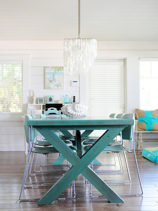 picnic table as dining room bench for beach style use