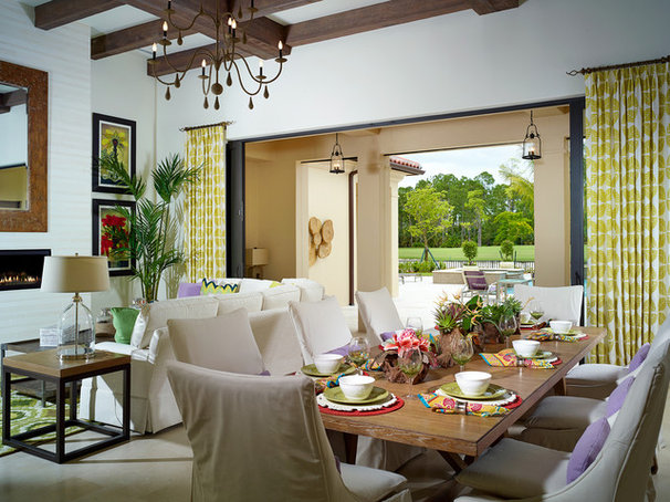 Tropical Dining Room by London Bay Homes