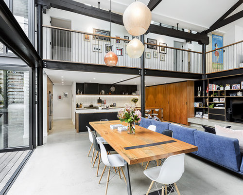 Expansive Industrial Open Plan Dining In Sydney With Concrete Floors.