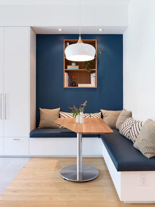 Inspiration For A Mid Sized Contemporary Light Wood Floor And Brown Kitchen Dining