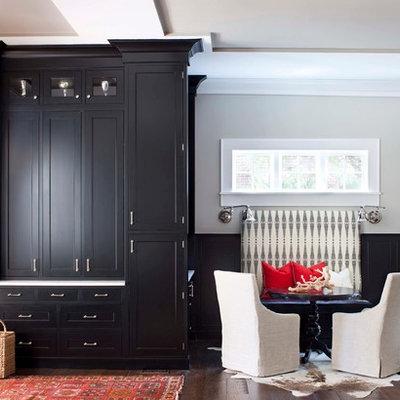 Large elegant medium tone wood floor great room photo in Atlanta