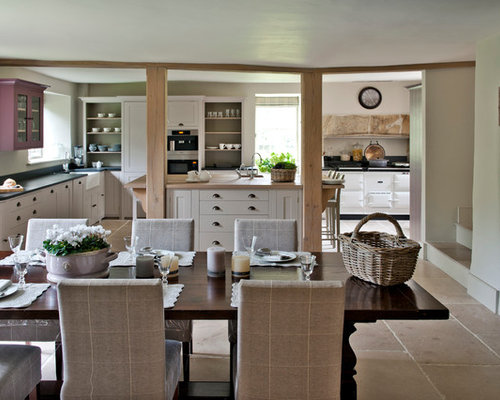 Design Ideas For A Rural Kitchen/dining Room In London With White Walls And  A