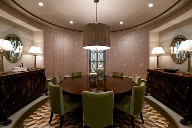 Transitional Dining Room by Architecture BRIO