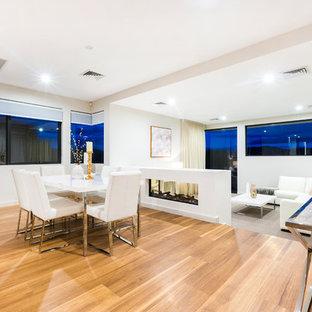 Exemple d'une salle à manger ouverte sur le salon tendance de taille moyenne avec un mur blanc, un sol en bois clair, une cheminée double-face, un manteau de cheminée en plâtre et un sol orange.