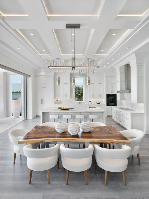 cove lighting ideas. Inspiration For A Contemporary Gray Floor Kitchen/dining Room Combo Remodel In Miami With White Cove Lighting Ideas