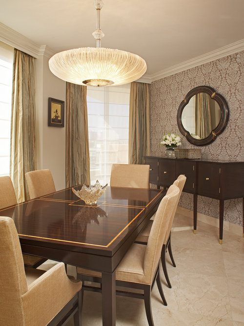 Inspiration For A Victorian Marble Floor Dining Room Remodel In Miami With Beige Walls