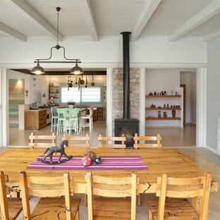 Ispirazione per una sala da pranzo design con pareti grigie e stufa a legna