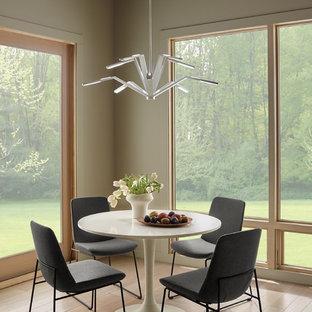 Ispirazione per una piccola sala da pranzo contemporanea chiusa con parquet chiaro, pareti grigie e nessun camino