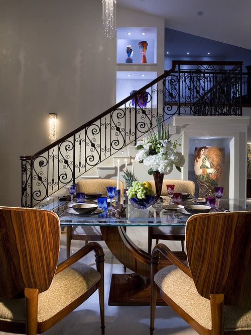 Inspiration For A Contemporary Dining Room Remodel In Miami With Gray Walls