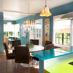 Aménagement d'une salle à manger contemporaine avec un mur bleu.