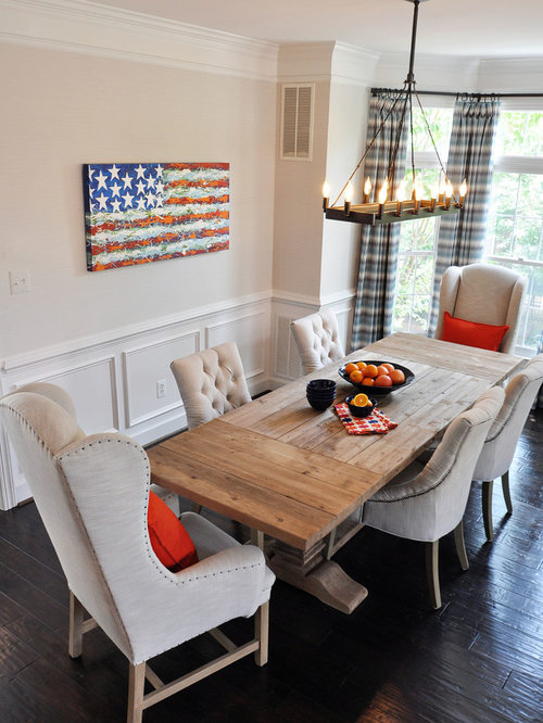 Dining Room Farmhouse Dark Wood Floor Idea In Dc Metro With Beige Walls