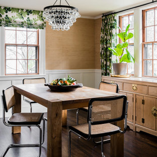 Dining Room   Small Transitional Dark Wood Floor And Brown Floor Dining Room  Idea In Boston