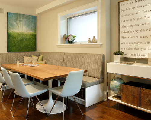 example of a combo design in toronto with beige walls and medium - Pedestal Table Base
