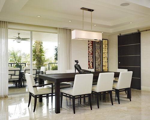 Example Of A Mid Sized Trendy Marble Floor Dining Room Design In Miami With White