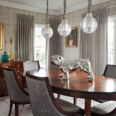 Example of a trendy dining room design in San Francisco with gray walls