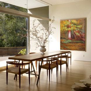 Foto di una sala da pranzo moderna di medie dimensioni con pavimento in compensato