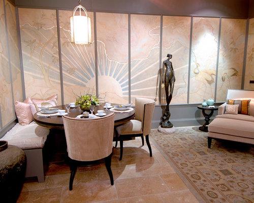 sala da pranzo aperta verso il soggiorno etnica con pavimento in ... - Idee Arredamento Soggiorno Etnico 2