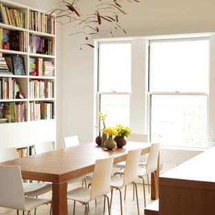 Example Of A Trendy Beige Floor Dining Room Design In Chicago With White  Walls