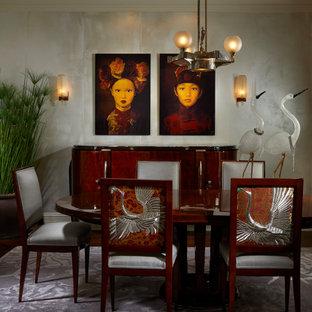 Свежая идея для дизайна: столовая в восточном стиле с обоями на стенах и потолком с обоями - отличное фото интерьера