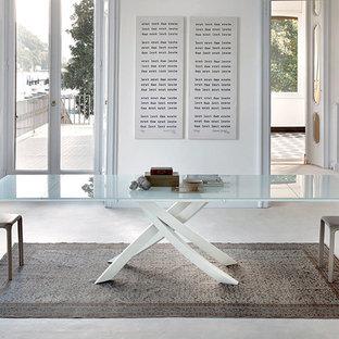 ボルチモアの巨大なコンテンポラリースタイルのおしゃれなLDK (白い壁、コンクリートの床、暖炉なし、ベージュの床) の写真
