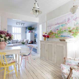 Inspiration for a shabby-chic style dining room remodel in London