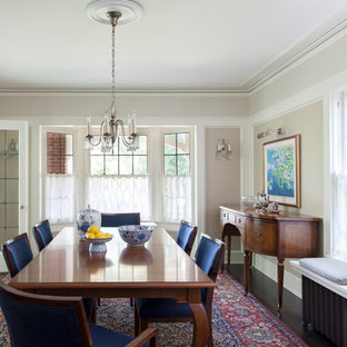 Large arts and crafts enclosed dining room photo in Seattle