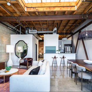 Inspiration for an industrial concrete floor and gray floor great room remodel in Los Angeles with white walls