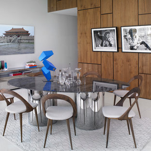 Example of a large trendy linoleum floor and white floor great room design in Miami with white walls