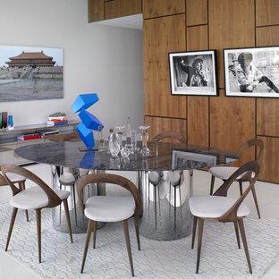 Esempio di una grande sala da pranzo aperta verso il soggiorno minimal con pareti bianche, pavimento in linoleum e pavimento bianco