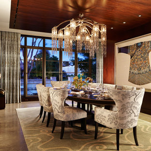 Example Of A Mid Sized Zen Concrete Floor And Brown Great Room Design In