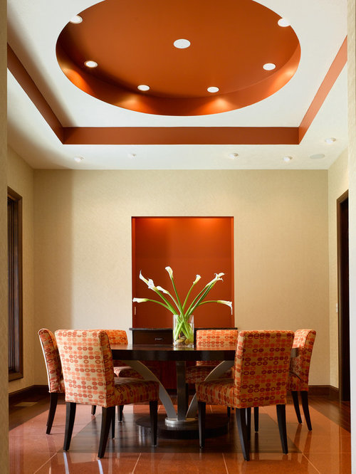 Contemporary enclosed dining room design ideas for Orange dining room design ideas