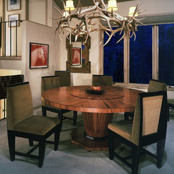 """Aspen Table - Tusk Chairs - 72"""" diameter Table with 36"""" built-in lazy susan on custom made ball bearings."""