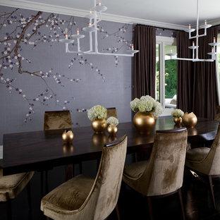 Cette image montre une grande salle à manger design fermée avec un mur violet, un sol en bois foncé et aucune cheminée.