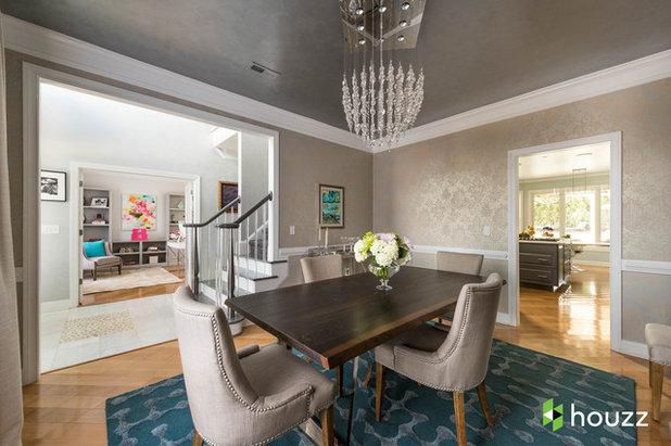Transitional Dining Room by Rachel Oliver Design, LLC