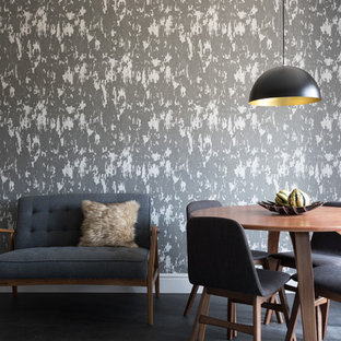 Small contemporary dining room in Berkshire with white walls, concrete flooring and grey floors.