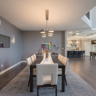Large minimalist medium tone wood floor great room photo in Chicago with gray walls