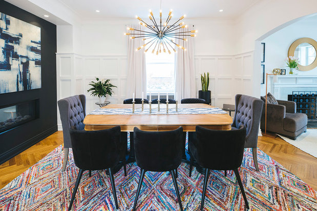 Transitional Dining Room by MVA Architecte