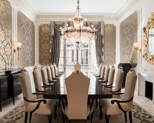 Elegant Dining Room   Large Victorian Dining Room Idea In Belfast With Metallic  Walls And A Standard
