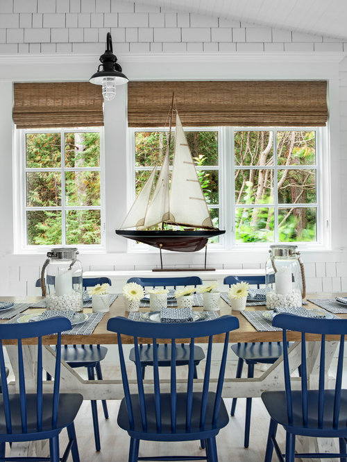 Inspiration For A Beach Style Light Wood Floor Dining Room Remodel In Other With White Walls