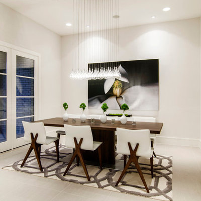 Dining room - contemporary dining room idea in Dallas with white walls