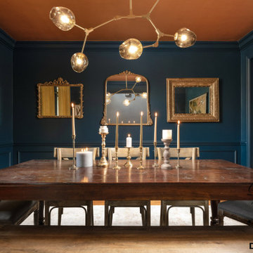 B L U E  Transitional Dining Room Design by- Dawn D Totty Interior Designs
