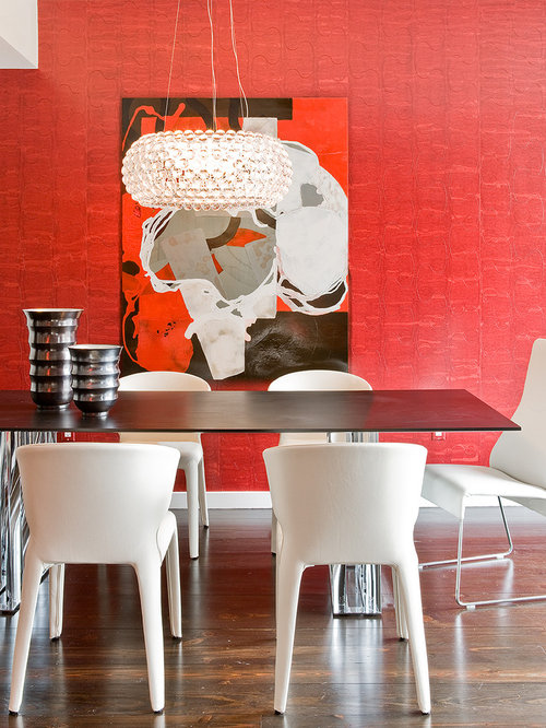red dining room chairs. Trendy dark wood floor dining room photo in Boston with red walls Red Dining Room  Houzz